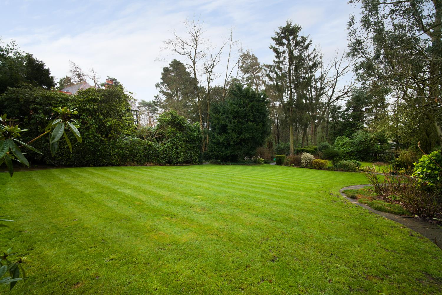 MANICURED LAWNS BEAUTIFULLY SCREENED BY ESTABLISHE